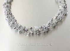 wire crochet  jewelry | Silver Freshwater Pearl Wire Crochet Necklace (SOLD) | Flickr - Photo ...