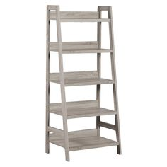 Keep your office stylish and organized with the Tracey Collection. Perfect for adding storage and display space to your area, the Tracey Ladder Bookcase is sturdy and durable. Five spacious shelves provide ample space for books, accent pieces and frames. The gray finish and transitional design makes it an easy addition to your home's existing decor.