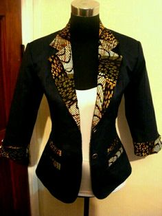 Fitted jacket with kente or ankara well African fabric I know I already did a post on Ankara (African Prints) last year but my fingers are itching to share with you more pics I came across of amazing African Print designs (the leather skirt and Ankara … African Inspired Fashion, African Print Fashion, Africa Fashion, Fashion Prints, Kitenge, African Print Dresses, African Fashion Dresses, African Dress, African Prints