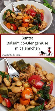 Was macht man mit vielen bunten Gemüseresten? Richtig - ein leckeres und buntes Balsamico-Ofengemüse mit Hähnchen und weißen Bohnen! Super sommerlich, lecker leicht und die meiste Arbeit erledigt der Ofen. Das Rezept für dieses leckere Ofengericht findet ihr hier auf katha-kocht! Kung Pao Chicken, Pot Roast, Meal Prep, Turkey, Super, Meals, Cooking, Ethnic Recipes, Germany
