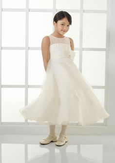 A-Line Bateau Ivory Flower Girl Dresses FD0111 by Dream Bridal