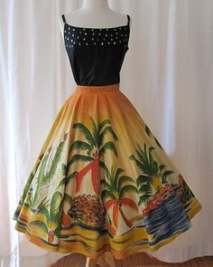 Best Ever 1950's hand painted Mexican circle skirt by wearitagain, $195.00