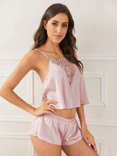 To find out about the Floral Lace Satin Cami With Shorts at SHEIN IN, part of our latestSexy Lingerie ready to shop online today! Jolie Lingerie, Lingerie Models, Lingerie Set, Women Lingerie, Cute Sleepwear, Lingerie Sleepwear, Nightwear, Ropa Interior Babydoll, Fashion News