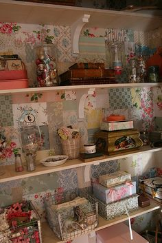 Great idea to paper the back of the cabinet. Vintage Craft Room, Vintage Crafts, Vintage Sewing Rooms, Craft Room Organisation, Craft Room Storage, Craft Room Design, Craft Room Decor, Small Craft Rooms, Decoupage Furniture