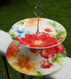 2 Tier Multi Colored Flowers Cake/Accessory Stand
