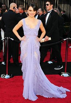 "Mila Kunis, 2011  Mila Kunis looked radiant in a lavender haute couture design from Elie Saab. The only drawback to the chiffon-and-lace layered number? A lack of insulation. ""I'm cold, I have to admit!"" Kunis joked on the red carpet. Advertisement"
