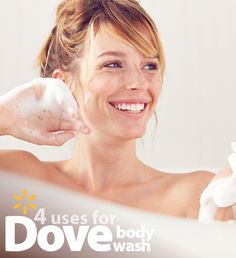 Shed shower clutter and save money with one multifunctional must-have. Discover all these uses for Dove® Body Wash. Relax by soaking in a Dove® bubble bath. Get a smooth, clean shave with the rich lather of 100% skin-natural moisturizers. Scrub your pores using Dove® body wash to nourish deep down. Give your face a clean rinse to leave your skin feeling soft & smooth. Discover more affordable beauty solutions & stock up on everything you need at Walmart for low prices every day.