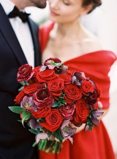 Gorgeous Bridal Bouquet Which Features: Red Roses, Red Ranunculus, Red-Violet Hellebores & Green Foliage Red Rose Bouquet, Rose Wedding Bouquet, Red Wedding, Floral Wedding, Wedding Flowers, Wedding Day, Wedding Blog, Wedding Photos, Wedding Dresses