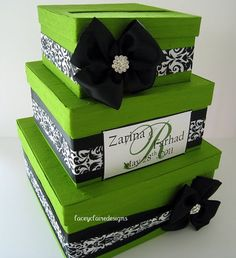 Apple Green and damask elegant wedding card holder box.  By www.laceyclairedesigns.etsy.com