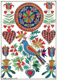 Fraktur With 36 Hearts   from Theodora by THEODORADESIGNS on Etsy,