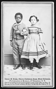 Isaac and Rosa, Slave Children from New Orleans, Louisiana - 1863 by vieilles_annonces, via Flickr