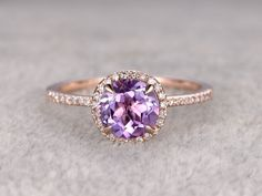 Natural Amethyst Engagement ring,Halo Diamond wedding ring,14K Rose Gold Band,7mm Round Cut Purple stone Promise Ring,Bridal Ring,New Design by popRing on Etsy