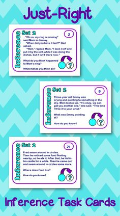 These Just-Right Inference Task Cards are not too easy and not too hard. Perfect for grades 2-5! $