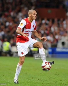 Hocine Ragued of SK Slavia Praha in action during the UEFA Europa League Group B match between Genoa CFC and SK Slavia Praha at Luigi Ferraris Stadium on September 17, 2009 in Genoa, Italy.