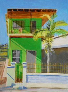 "Daily Paintworks - ""Green house, Tijuana"" - Original Fine Art for Sale - © Lavina Blossom"