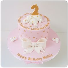 Pink and gold twinkle twinkle little star birthday cake