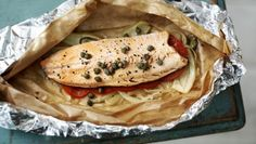 BBC - Food - Recipes : How to make trout en papillote Baked Cod, Baked Fish, Trout Recipes, Bbc Recipes, Pork Recipes, Baking Recipes, Low Calorie Recipes, Healthy Recipes, Deserts