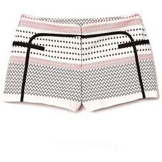 Zan Jacquard Shorts ❤ liked on Polyvore featuring shorts, jacquard shorts and zipper shorts