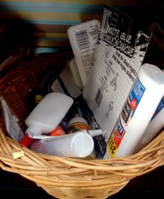 """I store similar supplies in easily accessible baskets and boxes. All of my glue goes into one basket, all my tape in another. It makes clean up faster too and I can just toss something into its proper basket. It may not be pretty, but I know where everything is."" ~Nichola  #graphic45 #craftorganization2014"