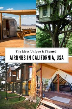 Check out the best themed AirBnBs in California. Have you ever stayed in a treehouse, caravan, or a house made entirely from tiles? Airbnb California, Glamping California, California Getaways, California Vacation, California Dreamin', Northern California Travel, Stay In A Treehouse, Treehouse Hotel, San Diego