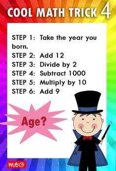 Math Magic Tricks, Cool Math Tricks, Maths Tricks, Math Tips, Math Activities For Kids, Math For Kids, Fun Math, Math Math, Maths Puzzles