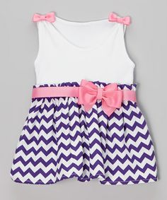 This White & Purple Bow Zigzag Dress - Infant & Toddler by Caught Ya Lookin' is perfect! #zulilyfinds