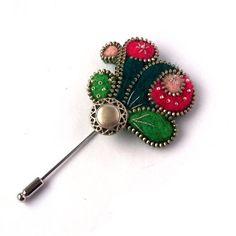 Broche de la cremallera, ramo de fieltro con botón, verde y Rosa pin, joyería hecha a mano, Pin broche