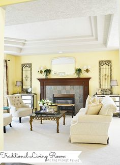 Traditional meets French Country Living Room www.atthepicketfence.com
