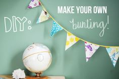 DIY Bunting with fusible bias tape, fabric, and mod podge.   Great idea from this is to use pinking shears or scrapbook scissors to get a different edge.