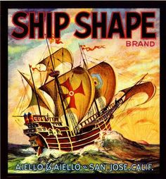 San Jose Ship Shape Vegetable Crate Label Art Print (I want a copy to frame and hang! I love crate art!)
