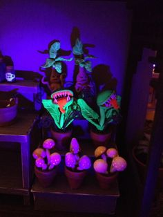 Found out by happy accident that some polymer clays glow under black light. How cool!