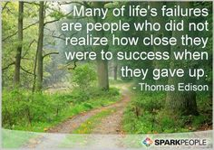 Many of life's failures are people who did not realize how close they were to success when they gave up.  ~Thomas Edison