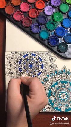 Easy Mandala Drawing, Mandala Sketch, Watercolor Mandala, Mandala Art Lesson, Doodle Art Drawing, Mandala On Canvas, Mandala Artwork, Mandala Painting, Coloured Mandala