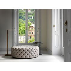 Porada - Alcide Large Round Pouf. Deep buttoned, round pouf in a choice of…