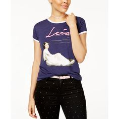 Star Wars Juniors' Princess Leia Graphic Ringer T-Shirt by Mighty Fine ($20) ❤ liked on Polyvore featuring tops, t-shirts, heather navy, graphic print t shirts, graphic tops, mighty fine, mighty fine t shirts and graphic t shirts