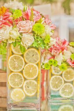 pink lemonade centerpieces. could be super cute in yellow and green for the kitchen