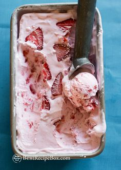Amazing Fresh Strawberry Ice Cream Recipe without an Ice Cream Maker. No Churn, just 3 Ingredients @bestrecipebox