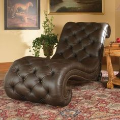 AICO Furniture - Trevi Leather Armless Chaise in Brown - Leather Furniture, Home Furniture, Furniture Design, Lounge Furniture, Furniture Stores, Cheap Furniture, Discount Furniture, Leather Chaise Lounge Chair, Lounge Sofa