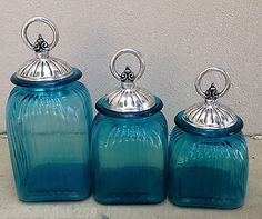 Ocean Blue Turquoise Canister Set with Pewter Circle Ring Lids   eBay