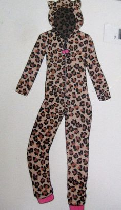Ladies Hooded Plush 1 Pc Animal Print Zipper Front Pink Cuffs NWT Size L 12/14 #AgeGroupLTD #OnePiece #Casual