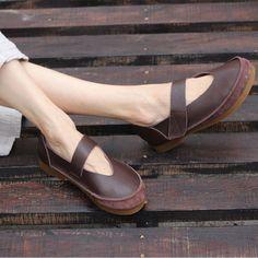 110ae7421 Encontrar Más Pisos de las mujeres Información acerca de Zapatos de mujer  de cuero genuino zapatos