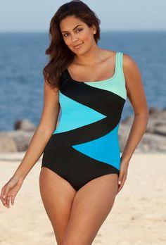 Beach Belle Cool Water Tricolor Spliced Swimsuit