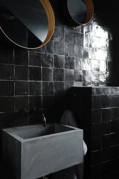 "\  BLACKonBLACKonBLACK //  We've noticed that black mosaic tiles have been making dramatic appearances online as well as with clients this year.      Steal this look with our handcut mosaic  tile: MJD 4""x4"" in our Black."