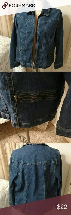 Ladies Jean Jacket Zip up front Nice stitch detailing 2 zippered pockets on front Only worn a handful of times and in Great condition Westbound Jackets & Coats Jean Jackets