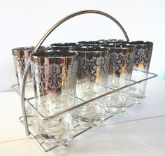 Silver Ombre Highball Glasses Set of 8 with by OurShabbyCottage, $130.00