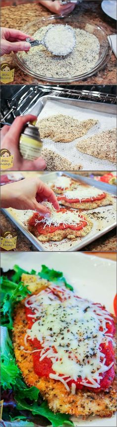 Baked Chicken Parmesan – Everyone's favorite Italian dish is calling your name for a quick and easy weeknight meal (but fancy enough for company)! The super easy chicken is baked to make it lighter and healthier for your family; and it is oh so tender and flavorful! Step-by-step photos! ♥