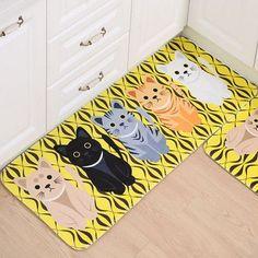 New Kawaii Welcome Floor Mats Animal Cute Cat Print Bathroom Kitchen Carpets House Doormats for Living Room Anti-Slip Tapete Rug