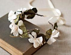 Autumn Bridal Crown Flower Wedding Hair Wreath Woodland Rustic Halo Floral Circlet Ivory Headpiece Fall Hairpiece Boho Style