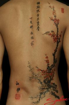 "San Lee tattoos the characters shown ön the right mean ""the plum blossom will not sell out its fragrance despite the bitter cold""."