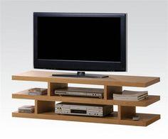 Scot Oak Wood Open Compartment TV Stand w/2 Shelves